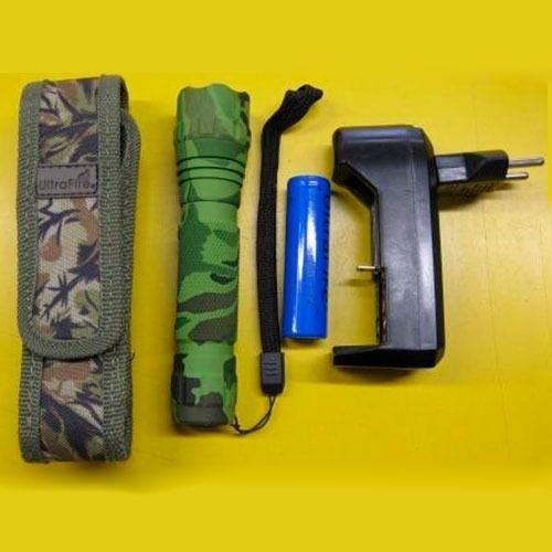 Lommelygte med etui, oplader og to batterier