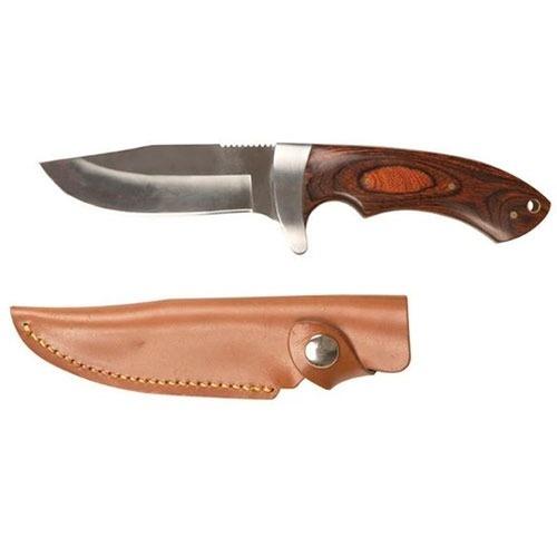 Jagtkniv med træhåndtag og læderskede