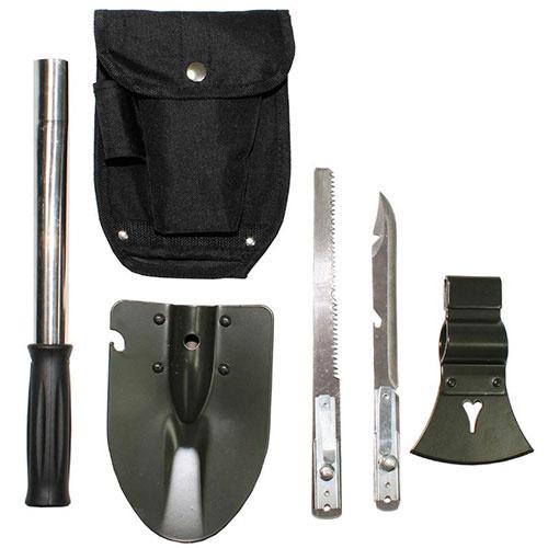 All in one økse, spade, sav og kniv med flaske og dåseåbner