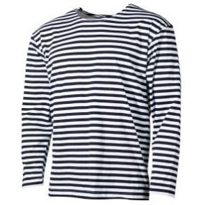 Russisk langærmet T-shirt, hvid/blå, sommer